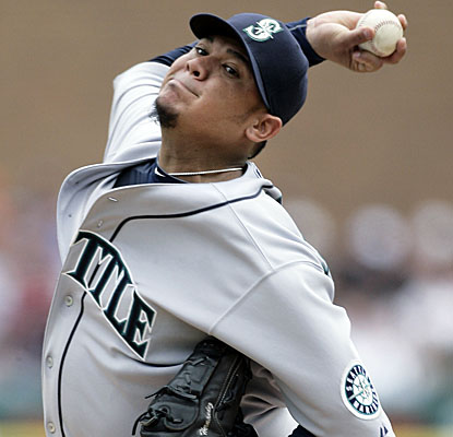 Felix Hernandez allows three runs on nine hits, whiffing six as the Mariners down the Tigers. (AP)