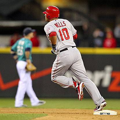 Vernon Wells circles the bases after hitting  a tiebreaking two-run homer in the seventh to give the Angels a 6-3 win. (Getty Images)
