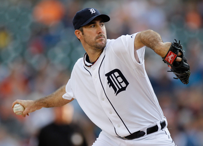 Justin Verlander carries his second no-hitter of the season into the eighth before giving up a single to Orlando Cabrera. (Getty Images)