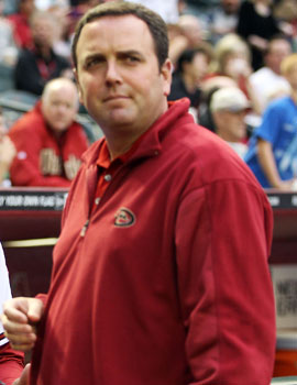 D-Backs president Derrick Hall, whose club has been mentioned, says MLB hasn't discussed a potential league change. (Getty Images)