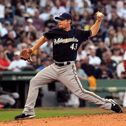 Randy Wolf scatters nine hits through seven tough innings while helping the Brewers top the Red Sox.  (Getty Images)