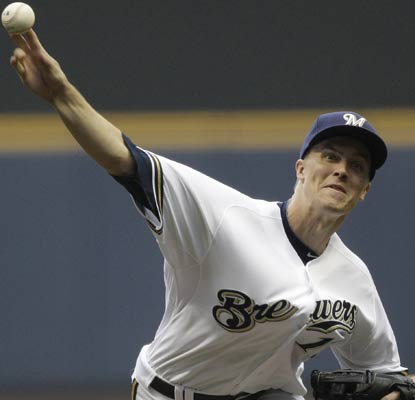 Zack Greinke has his best performance to date with the Brewers by striking out 10 through seven strong innings. (AP)