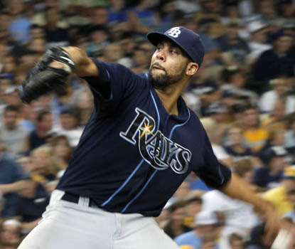 David Price strikes out 10 Brewers, with his fastball clocking in at 96 mph in the eighth inning. (AP)