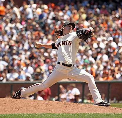 Tim Lincecum pitches seven innings for the Giants, striking out 12 while allowing three hits. (Getty Images)
