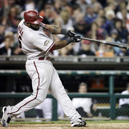Wily Mo Pena swings through a tiebreaking solo shot in the eighth inning against the Tigers.  (Getty Images)