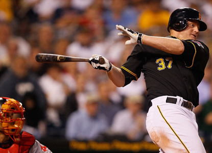 Lyle Overbay lays down two crucial hits for the Pirates, including a key RBI single in the sixth inning.  (Getty Images)
