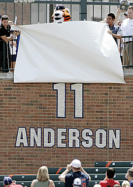 Grandsons of the late Sparky Anderson help unveil the Hall of Fame manager's jersey number. (AP)