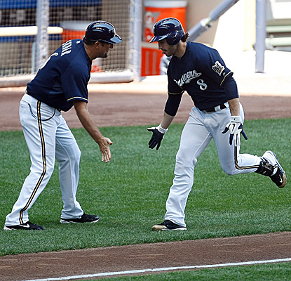 Ryan Braun rounds third after hitting a two-run homer in the fifth inning against the Twins. (Getty Images)
