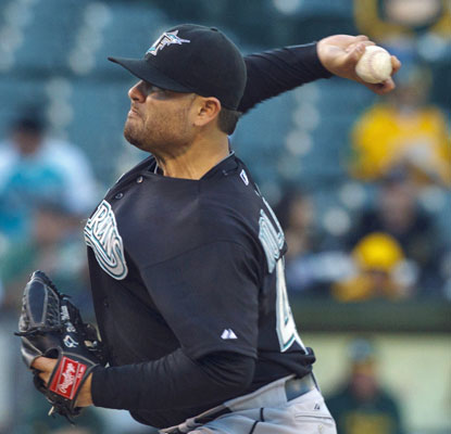 Florida's Ricky Nolasco earns his first win in more than a month, shutting out the A's on five hits.  (US Presswire)