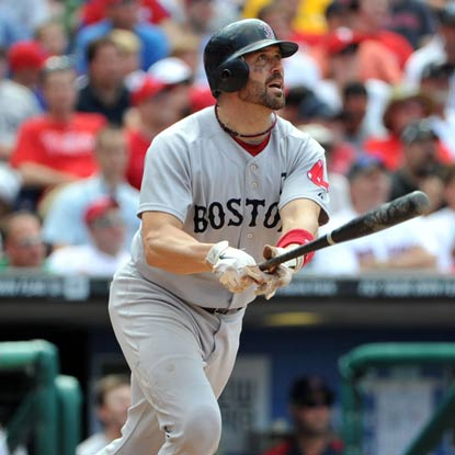 Jason Varitek's two home runs help power the Red Sox over the Phillies to avoid a series sweep. (Getty Images)