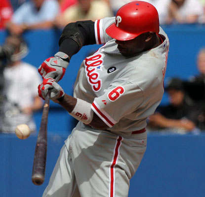 Ryan Howard smacks a go-ahead, two-run single in the ninth inning to vault the Phillies to a win in Toronto.  (US Presswire)