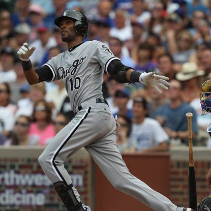 Alexei Ramirez watches his two-run homer sail as the White Sox win against crosstown rival Cubs. (Getty Images)