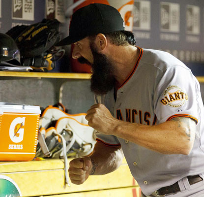 Brian Wilson goes on a tirade after being pulled in the ninth inning with the bases loaded and a run already in.  (US Presswire)