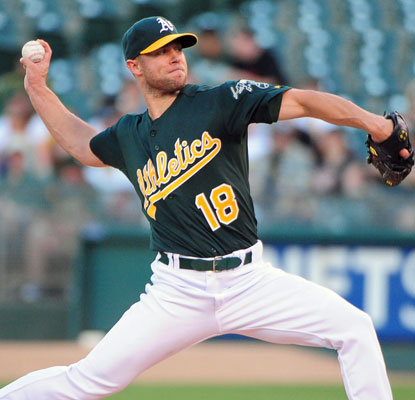 Just off the 60-day DL, Rich Harden yields two runs over six innings in his first start for Oakland in three years.   (US Presswire)