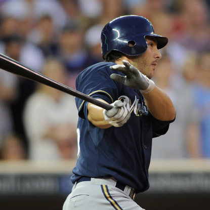 George Kottaras steps in as a pinch hitter and caps the Brewers' four-run ninth with a go-ahead RBI single.  (Getty Images)