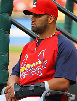 Pujols has been taking batting practice without feeling pain. (Getty Images)