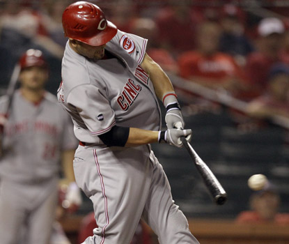 Ramon Hernandez's RBI double in the 13th inning bails out the Reds, who blow an eight-run lead. (AP)