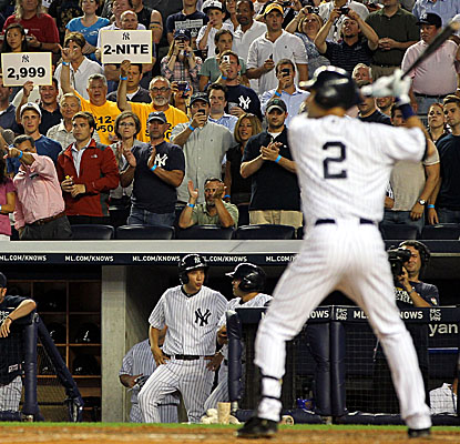 Derek Jeter's first at-bat against the Rays results in a double as the Yankees captain moves ever closer to 3,000 hits. (Getty Images)