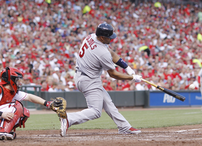 Albert Pujols powers through a three-run shot in the fifth for his 20th HR of the season.  (Getty Images)