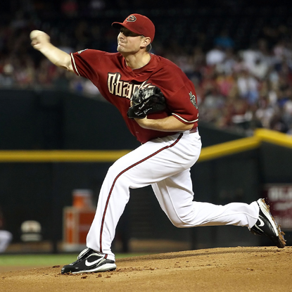D-Backs SP Daniel Hudson throws a five-hitter, belts his first HR in the majors and chalks up three RBI against the Dodgers.  (Getty Images)