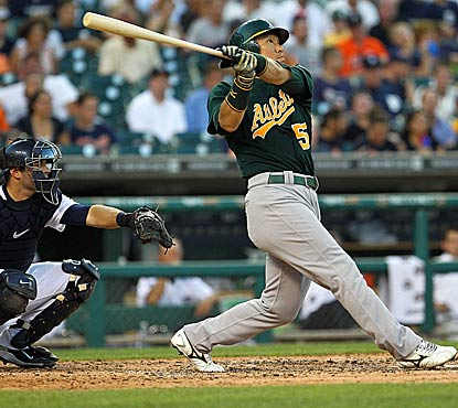 The A's rally with four crucial runs in the seventh inning. Hideki Matsui hits professional homer No. 500 in the win. (Getty Images)