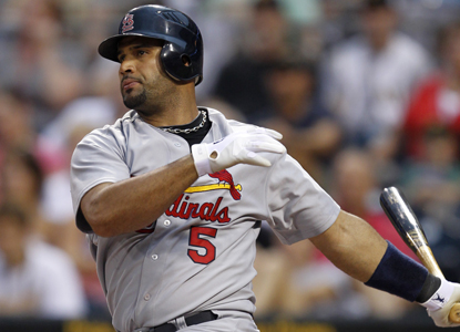 In the past two games, Cardinals slugger Albert Pujols -- 27 home runs -- is 8 for 10 at the plate.   (Getty Images)
