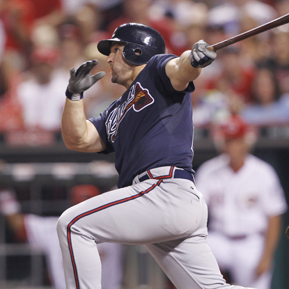 Braves' Dan Uggla powers through his 18th HR of the season -- his first ever as a pinch hitter. (Getty Images)
