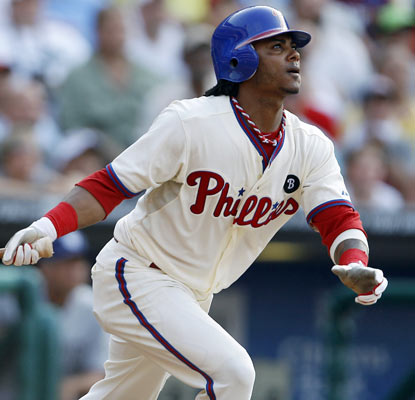 Michael Martinez's second career home run gives the Phillies a three-run lead in the seventh inning.  (AP)