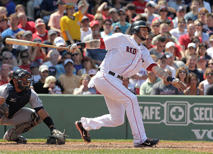 Jarrod Saltalamacchia drives in four runs while helping the Red Sox prolong the worst losing streak in Mariners history.   (Getty Images)