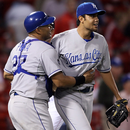 Joakim Soria (right) strikes out three in the bottom of the 14th to earn his 18th save of the season. (Getty Images)