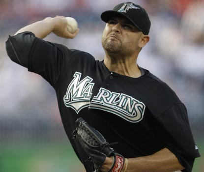 Ricky Nolasco evens his record at 7-7 for the Marlins, allowing just three hits in 5 2/3 innings of work. (AP)