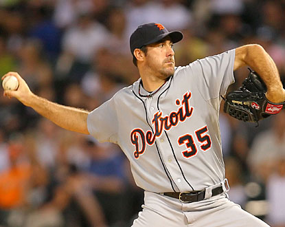 Justin Verlander gives up four runs, but works through 125 pitches in eight innings to get the decision. (US Presswire)