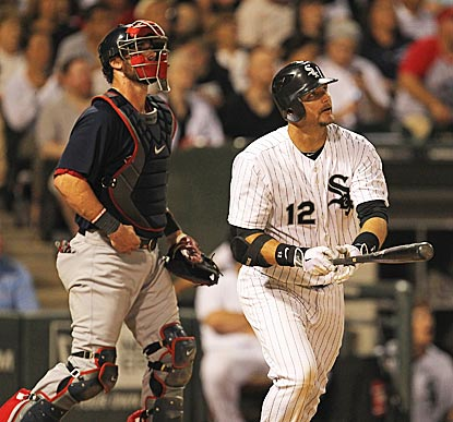 Jarrod Saltalamacchia and A.J. Pierzynski each hit a home run, but it's Pierzynski's blast in the seventh that decides it.  (US Presswire)