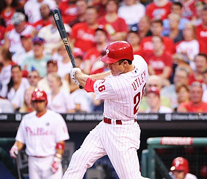 Chase Utley belts an RBI triple and later scores in the first inning to begin a big night.  (US Presswire)