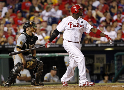Ryan Howard powers through a HR in the second inning before finishing with four hits and three RBI.  (Getty Images)