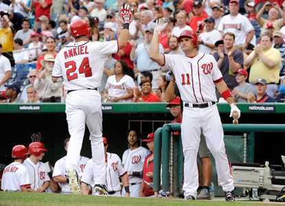 Rick Ankiel celebrates his first of two home runs against the Braves with teammate Ryan Zimmerman. (Getty Images)