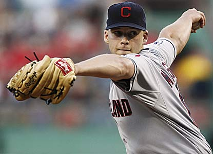 Justin Masterson, who strikes out nine, improves to 3-0 against Boston, which traded him to Cleveland in 2009.  (AP)