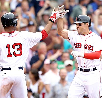 Jacoby Ellsbury (right) has six RBI and Carl Crawford notches four hits as Boston wins its ninth game against New York.  (Getty Images)