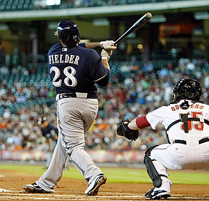 Prince Fielder finishes the night with four RBI and a triple shy of the cycle as the Brewers down the Astros. (Getty Images)