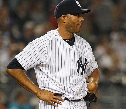 Mariano Rivera is not happy about giving up a home run in the ninth inning to former teammate Bobby Abreu.  (Getty Images)