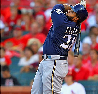 Prince Fielder's two RBI help the Brewers increase their lead in the NL Central over second place St. Louis by five games. (Getty Images)