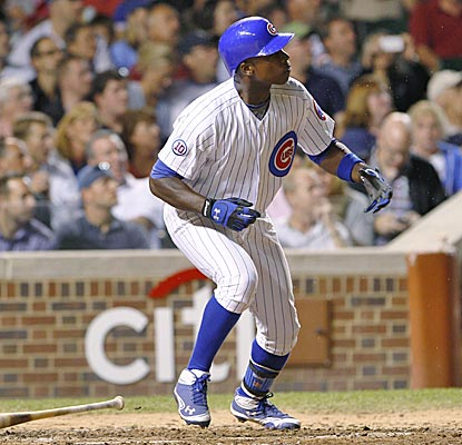 Alfonso Soriano watches the flight of his solo home run in the sixth inning at Wrigley. (AP)
