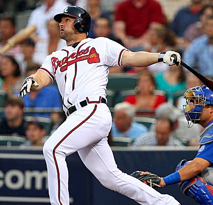 Dan Uggla now owns the longest hit streak in Atlanta Braves history, passing Rico Carty's 31-game streak from 1970. (Getty Images)