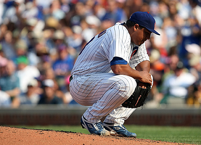 Cubs starter Carlos Zambrano is on the disqualified list after he left Friday's game in Atlanta. (Getty Images)