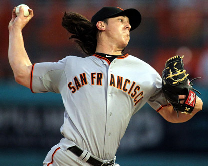 Tim Lincecum pitches seven shutout innings against the Marlins, and lowers his league-best road ERA to 2.08. (Getty Images)