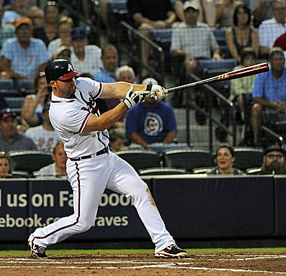 Dan Uggla extends his hitting streak to 33 games and caps the night with a fourth-inning homer, his 27th of the season. (AP)