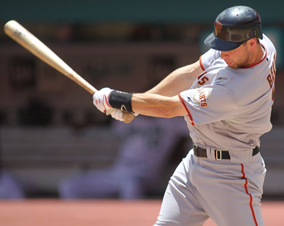 Brandon Belt makes the most of his promotion to the big leagues, connecting for two home runs against the Marlins. (Getty Images)