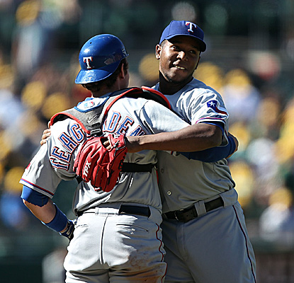 Rangers closer Neftali Feliz celebrates after wrapping up his 23rd save in 29 chances as Texas sweep in Oakland. (Getty Images)