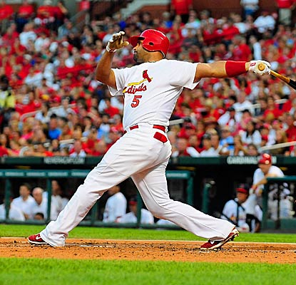 Albert Pujols crushes a 465 foot home run, the longest in Busch Stadium's six year history. (Getty Images)