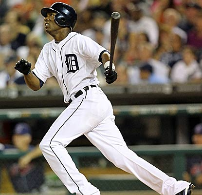 Tigers center fielder Austin Jackson belts one of three homers on the night to help Detroit increase their AL Central lead. (Getty Images)